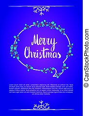 Merry christmas. Calligraphy clip-art, vector illustration....