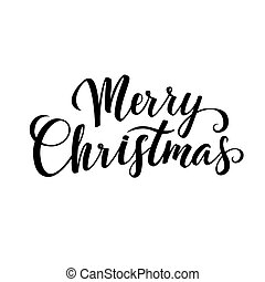 Merry Christmas Calligraphy. Greeting Card Black Typography on White Background.
