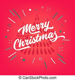 Merry Christmas calligraphy on red background. Lettering for greeting card.