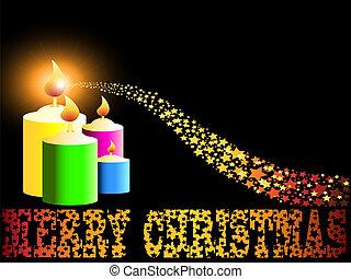 Merry Christmas candle and gold comet shooting star like...