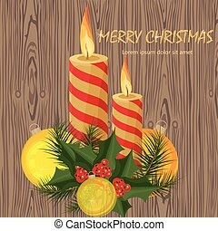Merry Christmas candles Vector. Holidays backgrounds