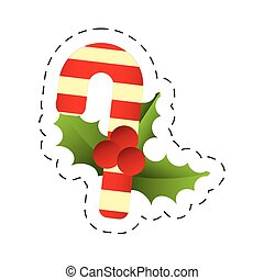 merry christmas candy cane berries leaves image