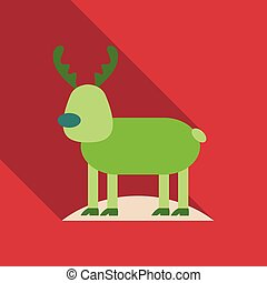 Merry christmas. Candy cane. Cute cartoon deer with horns, red scarf. Reindeeer head. Snowdrift. Blue winter snow background. Greeting card Flat design. Vector illustration