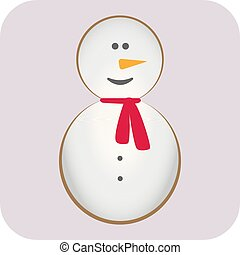 Merry Christmas. Candy cane. Snowman, carrot nose, hat, red scarf and snowflakes. Cute cartoon funny kawaii character. Greeting card. Flat design. Vector illustration