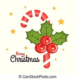 merry christmas candy cane sweet holly berry star card