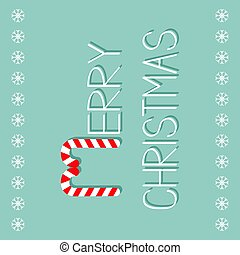 Merry Christmas Candy Cane text. Snowflake frame. Flat design. Blue background.