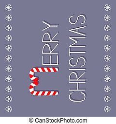 Merry Christmas Candy Cane text. Snowflake frame. Flat design. Violet background.