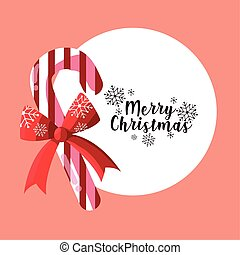 merry christmas candy cane with bow lettering card