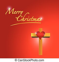merry christmas card and cross illustration