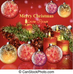 Merry Christmas card background Vector. Happy Holidays Realistic illustrations