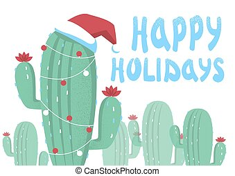 Merry Christmas card background with cactuses and holiday text.