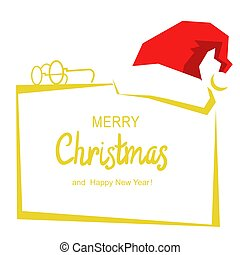 Merry Christmas card background with text and red Santa hat on white