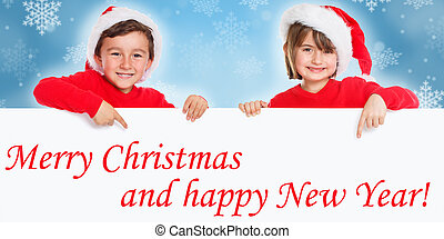 Merry Christmas card children kids Santa Claus pointing happy New Year