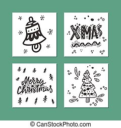Merry Christmas Card Collection - Handdrawn collection of...