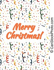 Merry Christmas card cover with exploding popper, colorful serpentine and confetti on background
