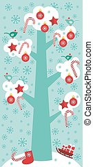 Merry Christmas card design Big tree with white snow on the branches, birds and red christmas decorations. Candy, balls, stars, sock, sleigh with gifts on sky-blue sky background. Vector