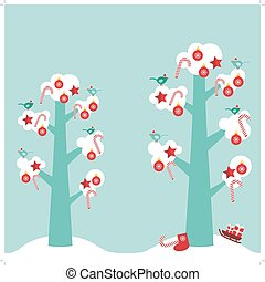 Merry Christmas card design trees with white snow on the branches, birds and red christmas decorations. Candy, balls, stars, sock, sleigh with gifts on sky-blue sky background. Vector