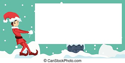 Merry christmas card design with elf
