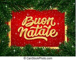 Merry Christmas card design with italian text