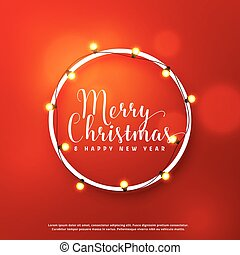 merry christmas card design with light frame