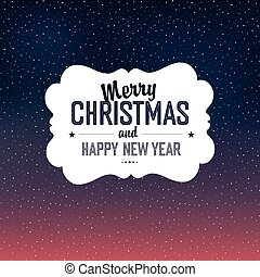 Merry Christmas Card Design With Snow Background. Vector