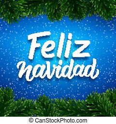 Merry Christmas card design with spanish text