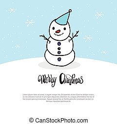 Merry Christmas Card Doodle Snowman On Blue Background With White Snowflakes