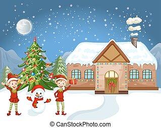 Merry Christmas Card. Illustration white Christmas house,...