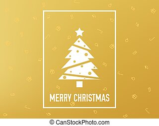 Merry Christmas card gold. Christmas tree on golden background. Luxury minimalist decoration. Yellow backdrop with festive elements. Happy New Year design. Vector illustration