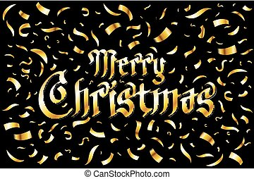 Merry Christmas card. Gold template over black background with golden confetti. Vector illustration.