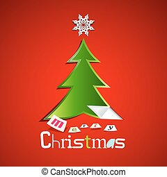 Merry Christmas Card - Green Paper Cut Xmas Tree with Star on Red Background
