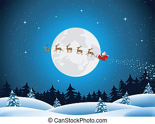 Illustration of santa driving the sleigh and his reindeer through the night