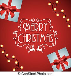 merry christmas card invitation gift light glow red background