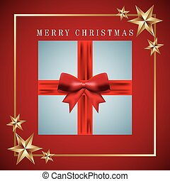 merry christmas card invitation gift wrapped ribbon bow and gold stars