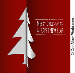 Merry Christmas card made from paper