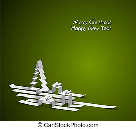 Merry Christmas card with a white tree and gift boxes made from paper stripes