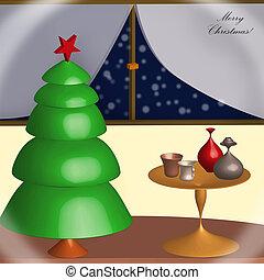 merry Christmas card - night home scene illustration