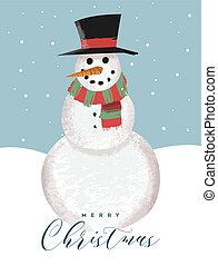 Merry Christmas card of funny snowman cartoon