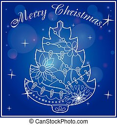Merry Christmas card on bokeh background