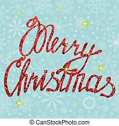 Merry Christmas card on snowflakes
