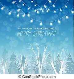 Merry Christmas card on winter forrest landscape background Vector. Blue lights on top beautiful holiday cards