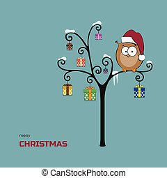 Merry christmas card. Owl in a Santa Claus hat sits on a tree with gift boxs. Image on cartoon style