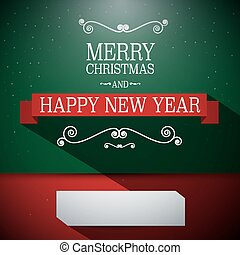 Merry Christmas Card. Retro Green and Red Vector Illustration with Vintage Objects, Ribbon and Long Shadow.