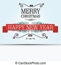 Merry Christmas Card. Retro Vector Xmas Greeting Banner on Blue Background.