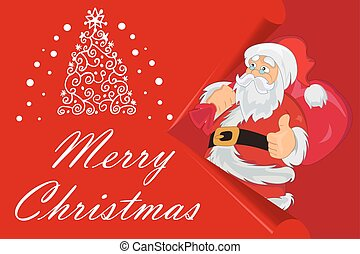 Merry Christmas Card, Santa Claus with bag, vector illustration
