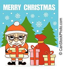 Merry Christmas card .Santa Claus with gifts