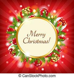 Merry Christmas Card, Vector Illustration