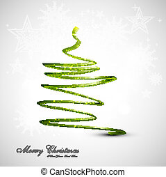 merry christmas card stylish tree green colorful vector