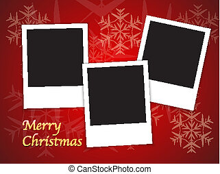 Christmas card templates with blank photo frames - Merry...