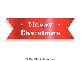Merry christmas card. The red ribbon with the inscription. Vector illustration.